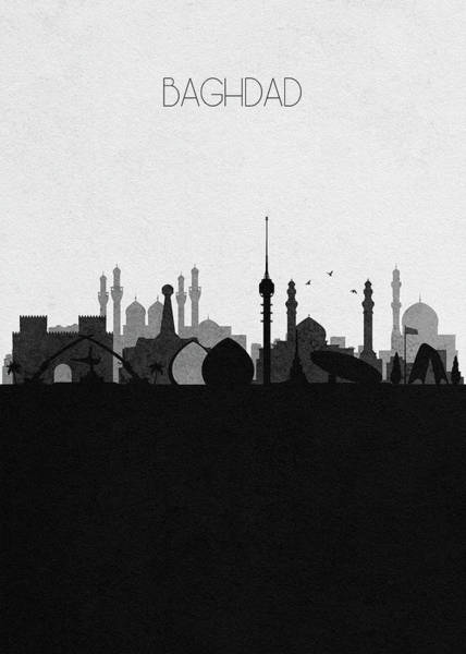 Baghdad Wall Art - Mixed Media - Baghdad Cityscape by Inspirowl Design