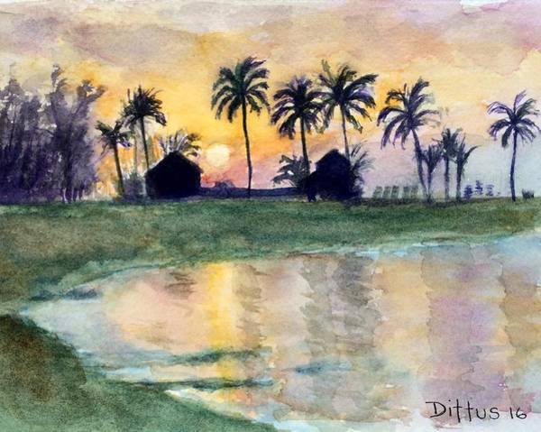 Wall Art - Painting - Bahama Palm Trees by Chrissey Dittus