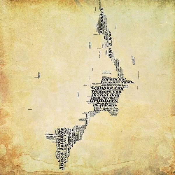 Town Square Digital Art - Bahamas Map V2 by Brandi Fitzgerald