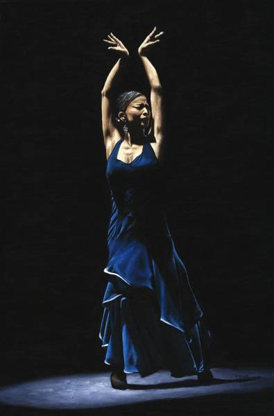 Blue Dress Painting - Bailarina A Solas Del Flamenco by Richard Young