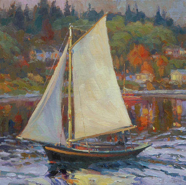 Wall Art - Painting - Bainbridge Island Sail by Steve Henderson