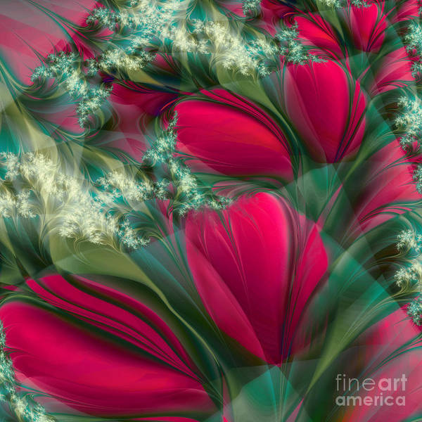 Fractal Painting - Baisers Des Tulipes by Mindy Sommers