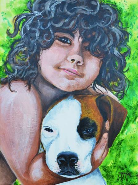 Mutt Painting - Baiya And Moja by Jonelle T McCoy