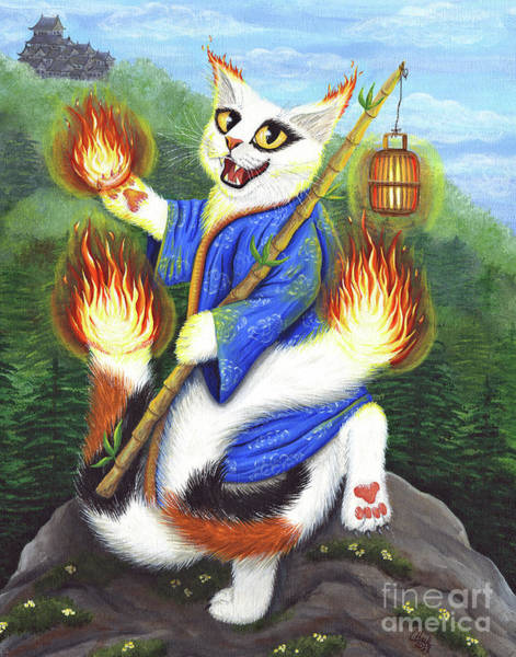 Painting - Bakeneko Nekomata - Japanese Monster Cat by Carrie Hawks