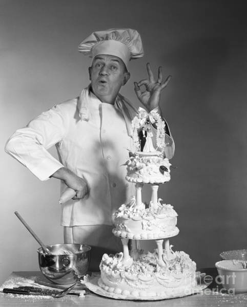 Wedding Cake Photograph - Baker Making Ok Sign, C. 1960s by H. Armstrong Roberts/ClassicStock
