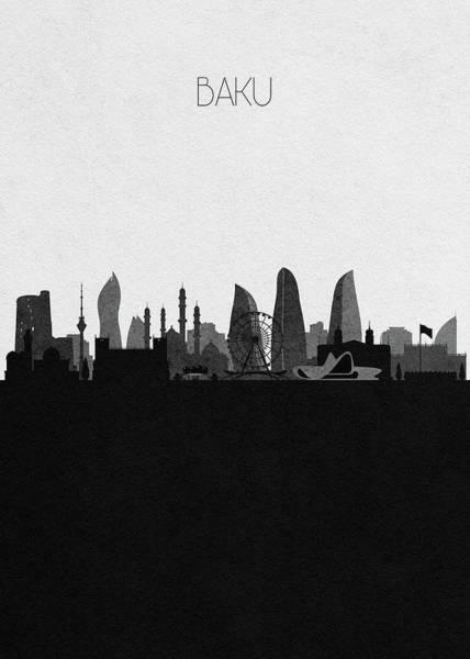Souvenir Digital Art - Baku Cityscape Art by Inspirowl Design