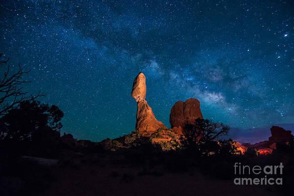 Wall Art - Photograph - Balanced Rock And Milky Way At Night  by Gary Whitton