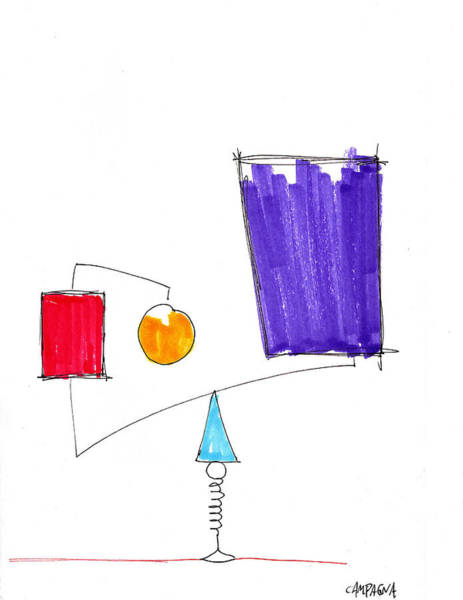 Sharpie Wall Art - Drawing - Balancing Act by Teddy Campagna