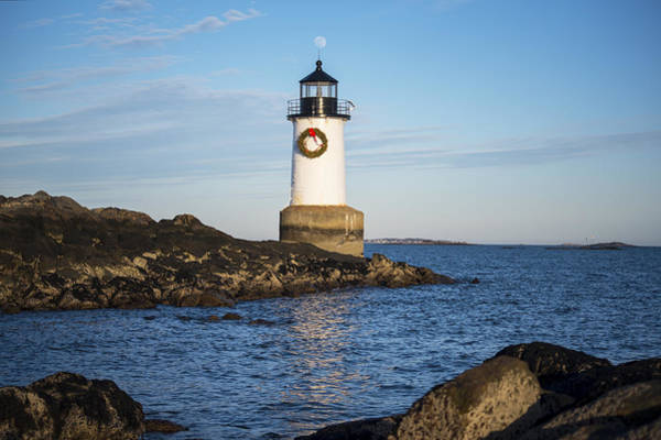 Pickering Photograph - Balancing Moon - Moonrise Over Fort Pickering Lighthouse Salem Ma Winter Island by Toby McGuire