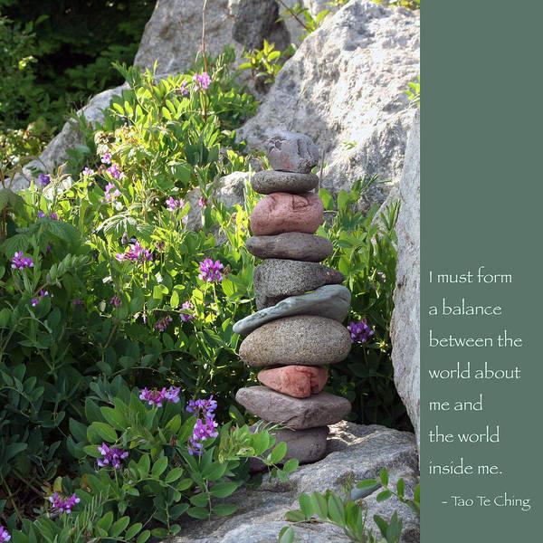 Balancing Rocks Photograph - Balancing Stones With Tao Quote by Heidi Hermes