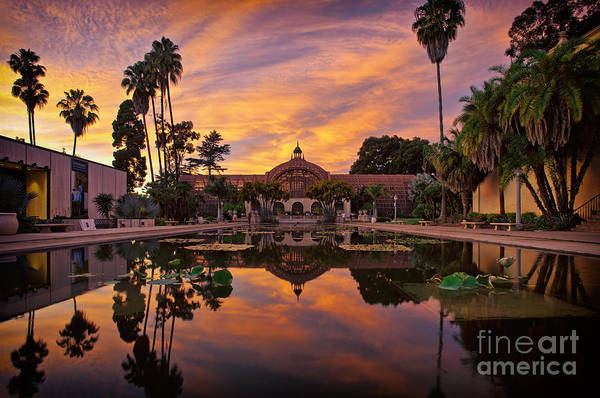 Balboa Park Botanical Building Sunset Art Print
