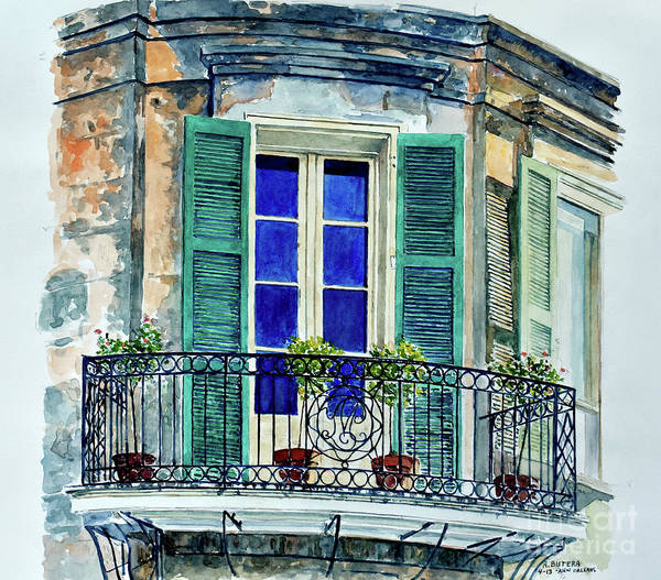 Wall Art - Painting - Balcony, New Orleans by Anthony Butera