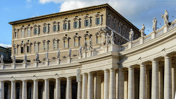 Apostolic Palace Photograph - Balcony Of The Pope. Apostolic Palace. St. Peter's Square. Vatican City by Nicola Simeoni