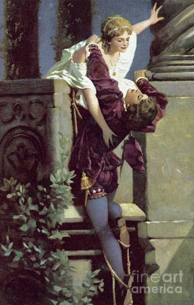 Tragedy Painting - Balcony Scene, Romeo And Juliet by English School