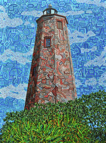 Wall Art - Painting - Bald Head Island, Old Baldy Lighthouse by Micah Mullen