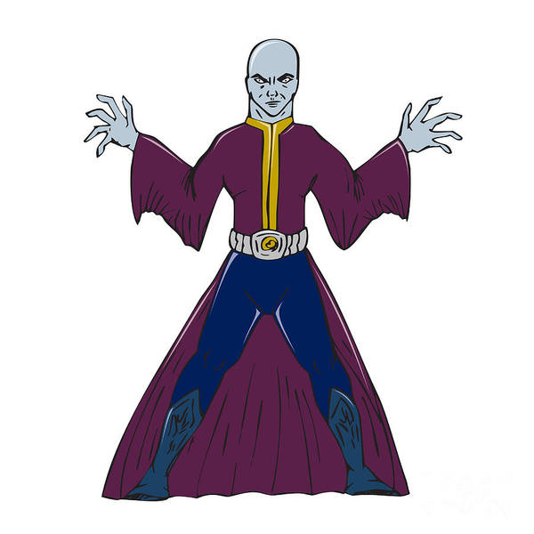 Wall Art - Digital Art - Bald Sorcerer Casting Spell Isolated Cartoon by Aloysius Patrimonio