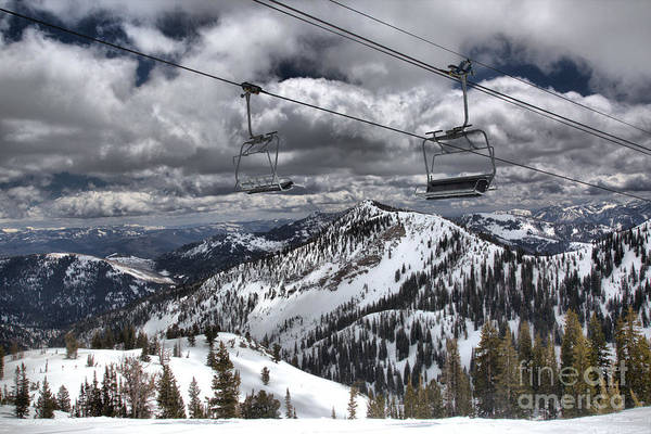 Photograph - Baldy Lift Chairs In The Clouds by Adam Jewell