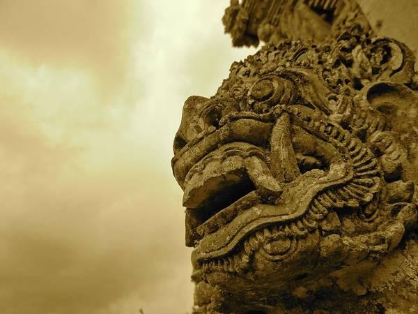 Photograph - Bali Statue In Orange - Side Profile by Exploramum Exploramum