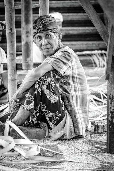 Photograph - Balinese Man Prepares For Full Moon Festival At Temple Near Ubud, Bali - Black And White by Global Light Photography - Nicole Leffer