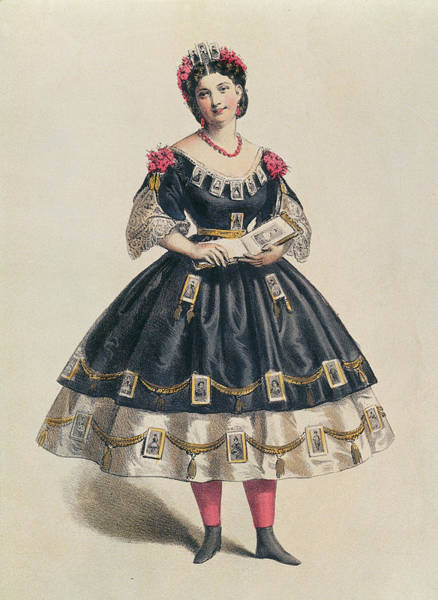 Fashion Plate Painting - Ball Gown Decorated With Photographic Cartes De Visite  by French School