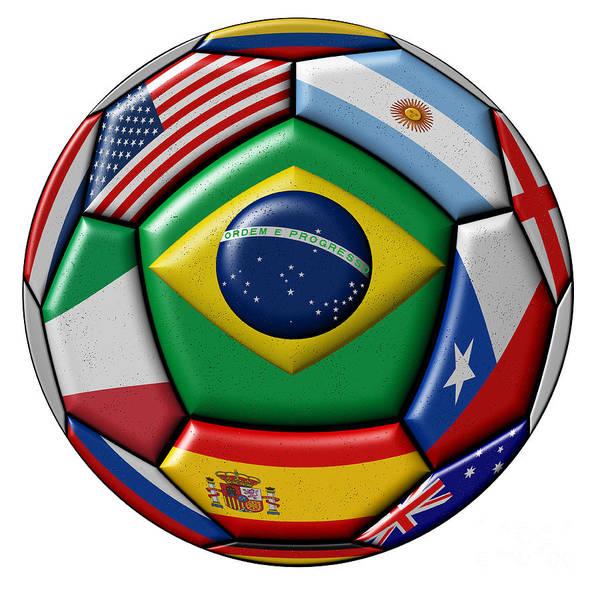Wall Art - Digital Art - Ball With Various Flags by Michal Boubin