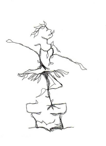 Drawing - Ballerina- Cracked Pot by Doug Johnson