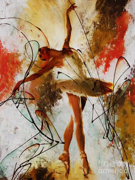 Wall Art - Painting - Ballerina Dance Original Painting 01 by Gull G
