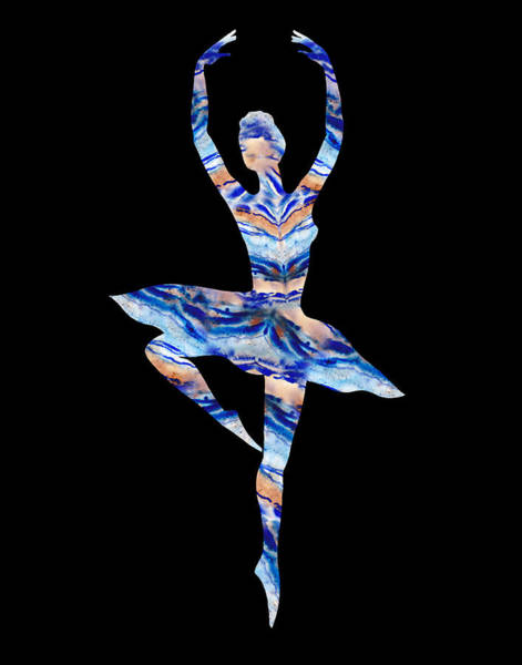 Wall Art - Painting - Ballerina Silhouette Blue Agate Dance by Irina Sztukowski