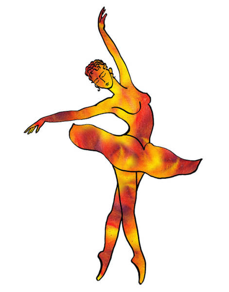 Fire Dance Wall Art - Painting - Ballerina Silhouette Dancing Fire by Irina Sztukowski