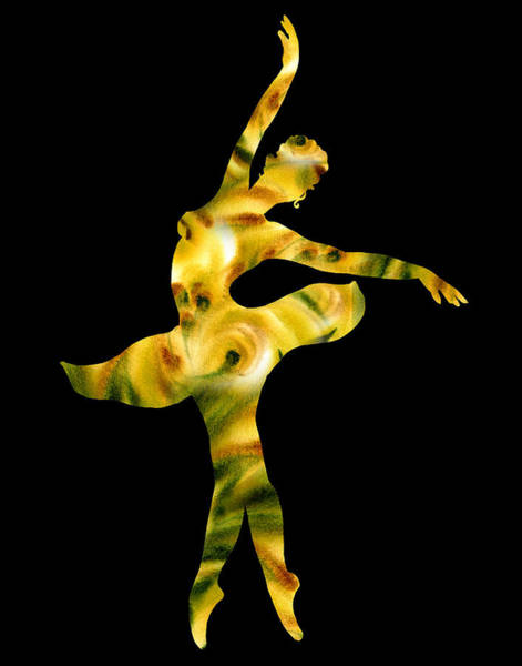 Wall Art - Painting - Ballerina Silhouette Green Beige Yellow by Irina Sztukowski