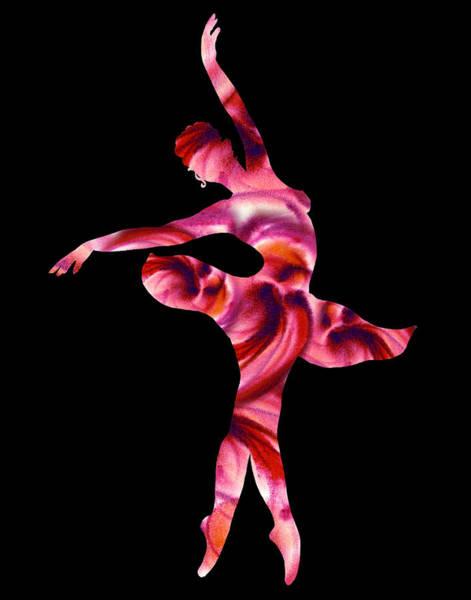 Wall Art - Painting - Ballerina Silhouette Passion Pink by Irina Sztukowski