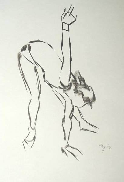 Painting - Ballet Dancer Bending And Stretching by Mike Jory
