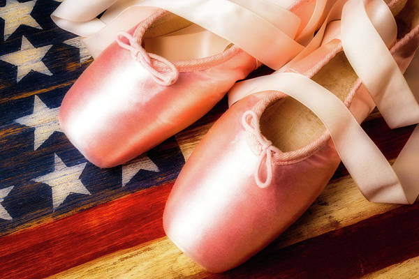 Wooden Shoe Photograph - Ballet Shoes And American Flag by Garry Gay