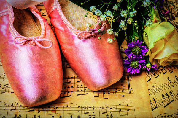 Pink Ribbon Wall Art - Photograph - Ballet Shoes And Old Sheet Music by Garry Gay