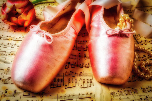 Pink Ribbon Wall Art - Photograph - Ballet Shoes And Perals by Garry Gay