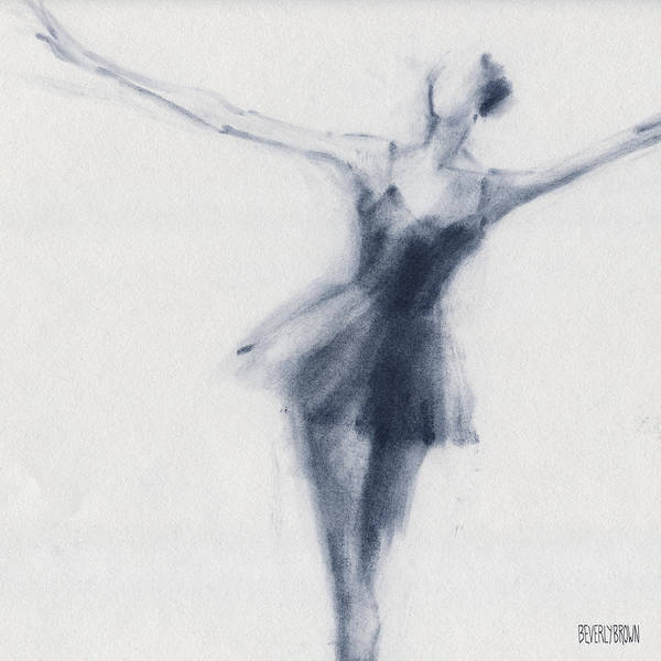 Blue And White Wall Art - Drawing - Ballet Sketch Dying Swan by Beverly Brown