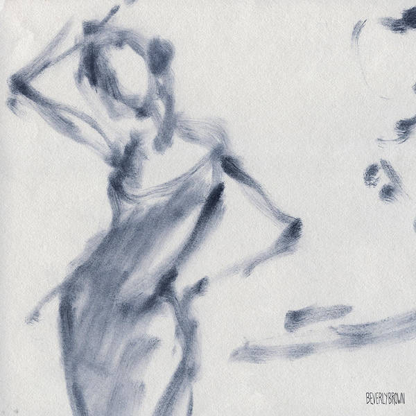 Semi Abstract Painting - Ballet Sketch Hand On Head by Beverly Brown