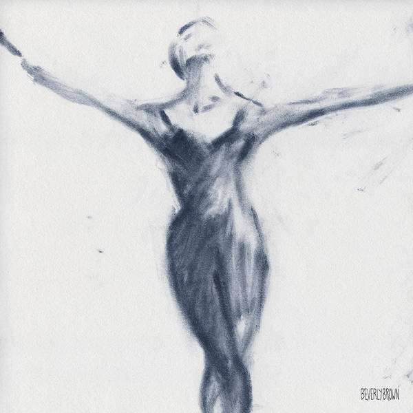 Blue And White Wall Art - Drawing - Ballet Sketch Open Arms by Beverly Brown