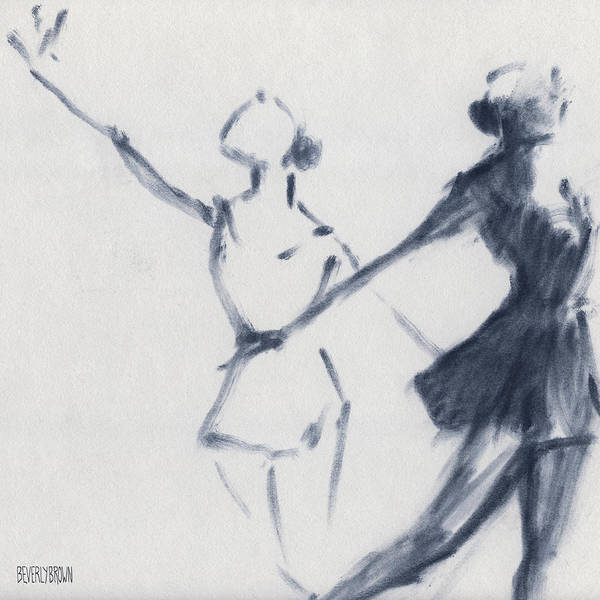 Blue And White Wall Art - Drawing - Ballet Sketch Two Dancers Mirror Image by Beverly Brown