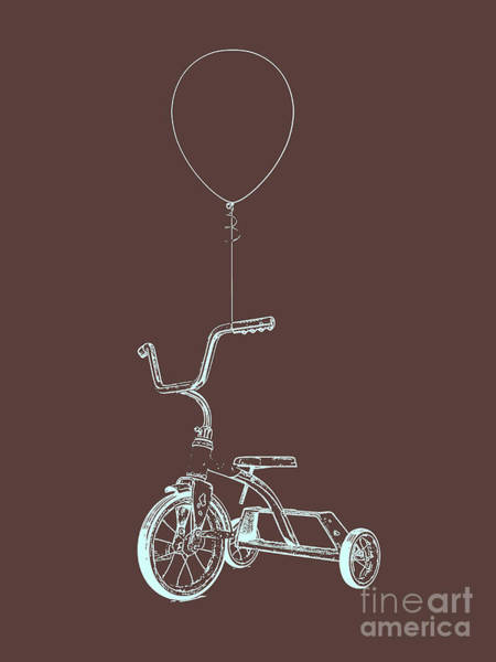 Digital Art - Balloon And Tricycle Brown Graphic by Edward Fielding