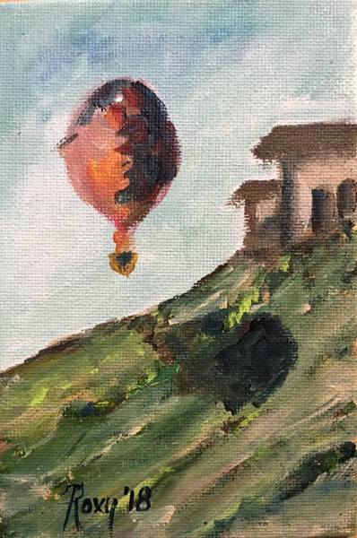 Landscape Painting - Balloon By The Tasting Room by Roxy Rich