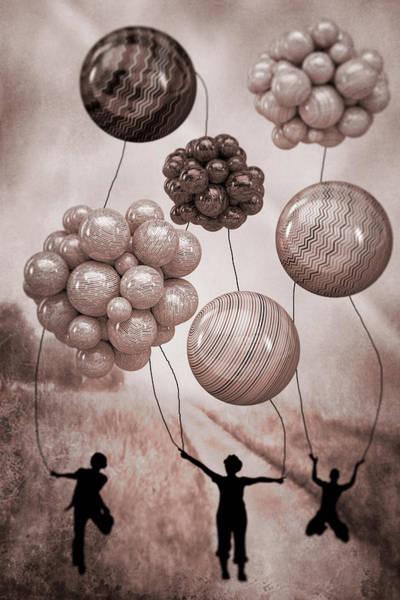 Digital Art - Balloon Contest - Sepia by Ericamaxine Price