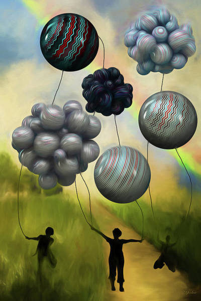 Painting - Balloon Contest - Under The Rainbow Painting by Ericamaxine Price
