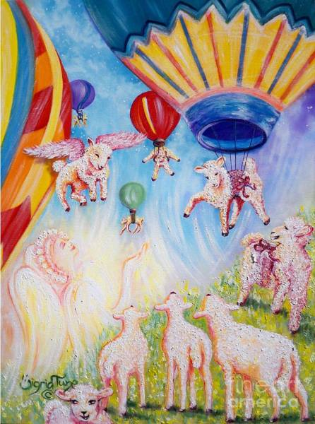 Painting -  The Self Driving Space Balloons                   Chloe The Flying Lamb Productions  by Sigrid Tune