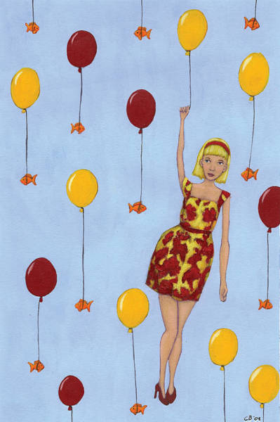 Blue Dress Painting - Balloon Girl by Christy Beckwith