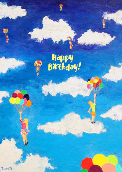 Painting - Balloon Girls Birthday Greeting Card by Thomas Blood