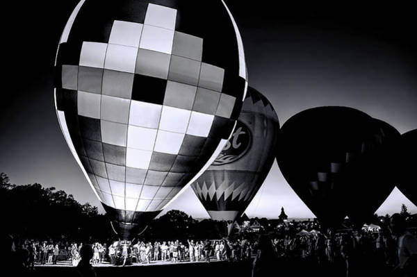 Frankenmuth Photograph - Balloon Glow In Black And White by Wes Iversen