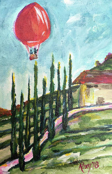 Landscape Painting - Balloon Over Faulkner by Roxy Rich