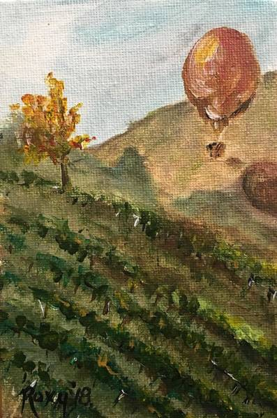 Landscape Painting - Balloon Over The Vines by Roxy Rich