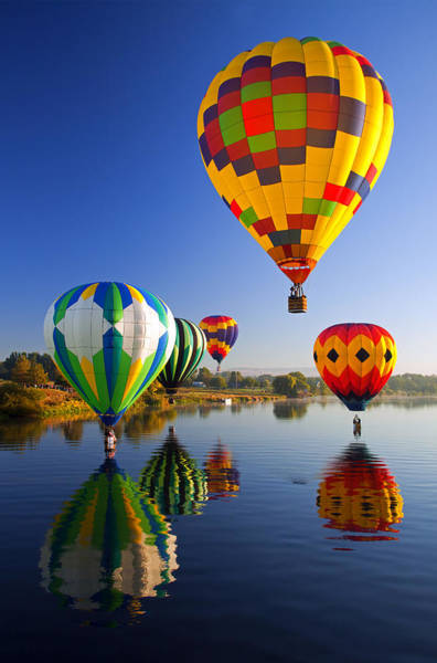 Hot Air Balloons Photograph - Balloon Reflections by Mike  Dawson